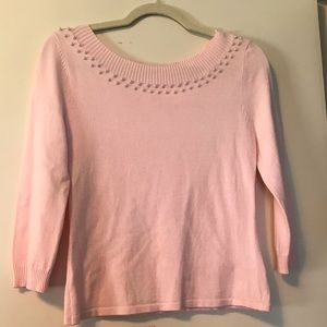 Apt 9 pink sweater with pearl detail size small